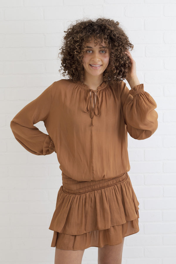 Novah Camel Ruffle Dress