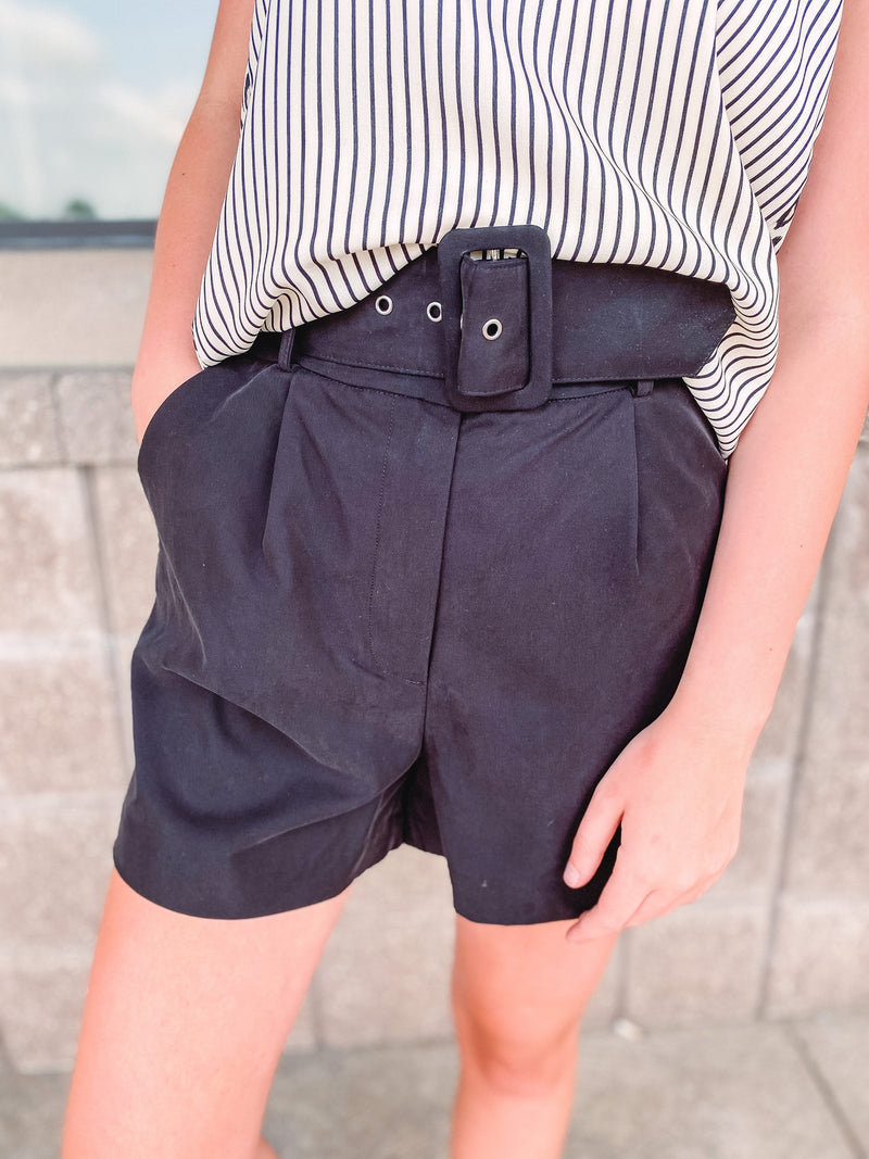 Women's Belted High Waisted Shorts