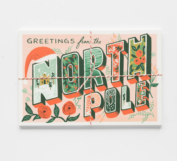 Rifle Paper Pack of 10 greetings from the North Pole Postcard