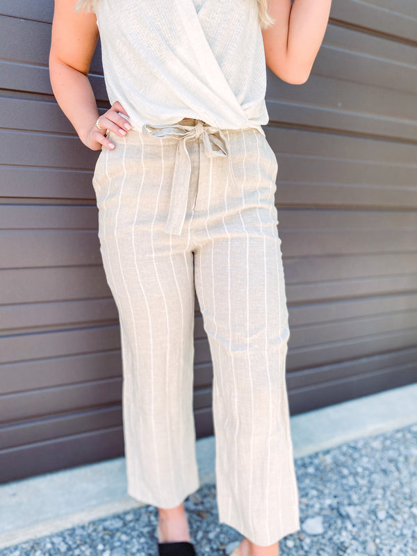 Women's Striped Tie Front Pant