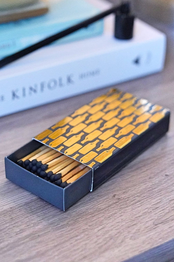 Gold Wine Bottle Print Matchbox