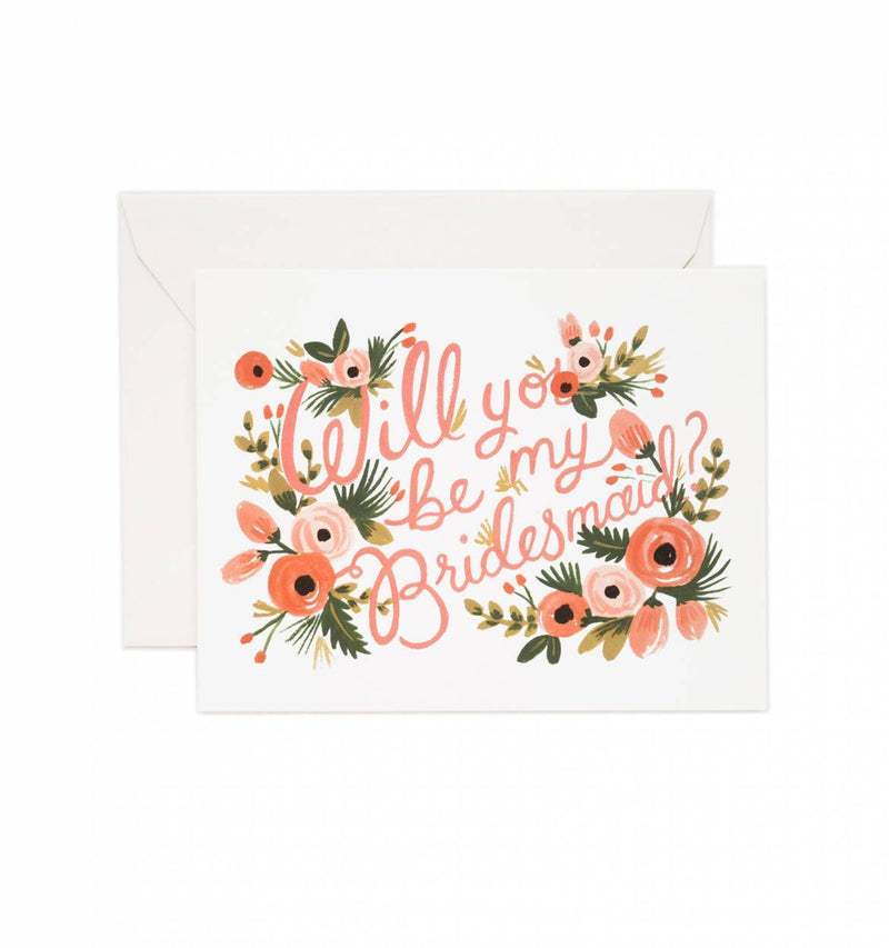 Will You Be My Bridesmaid Floral Greeting Card