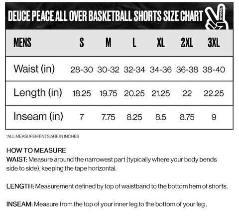 Deuce brand size guide for basketball shorts