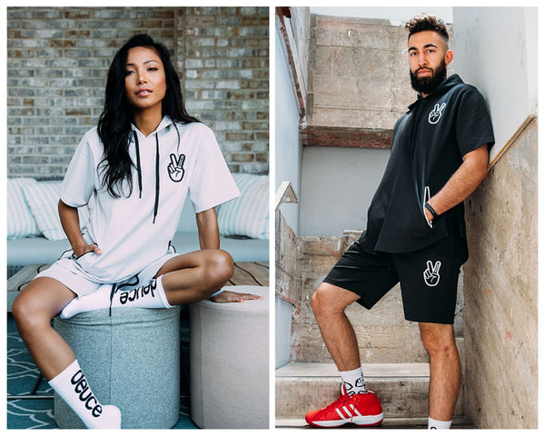 Deuce Brand Short Sleeved Athletic Track hoodie and shorts