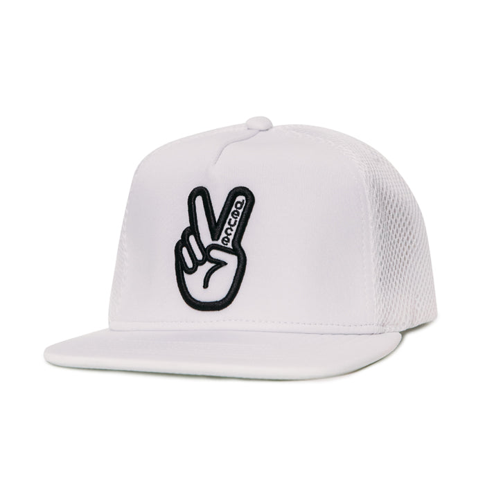 Deuce Brand peace athletic trucker hat white