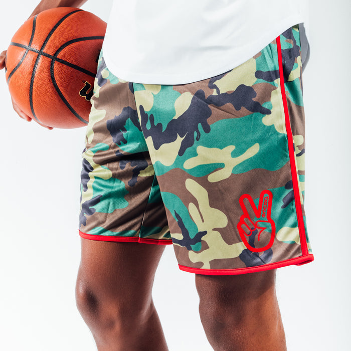 Deuce Brand Camo basketball shorts with waistband flip underdog mentality NBA