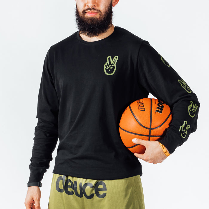 Deuce Peace Long Sleeve Tee | Black/Army Green