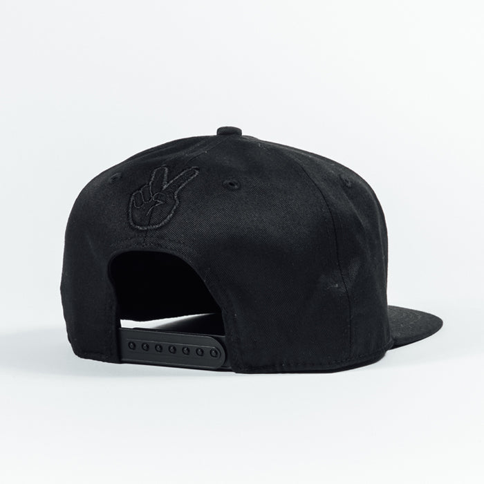 Deuce Brand snap back black hat with black thread. Stealth