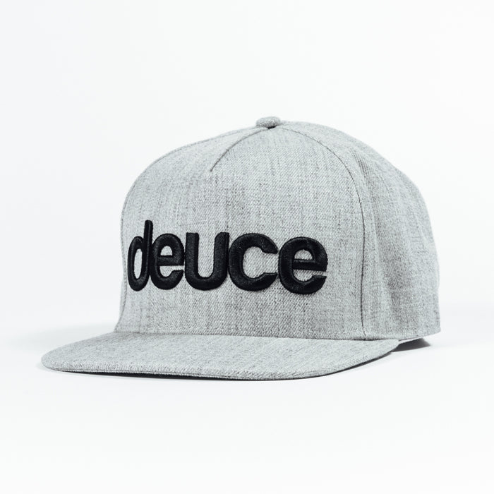 Deuce Brand snapback hat heather grey with deuce script and deuce peace logo