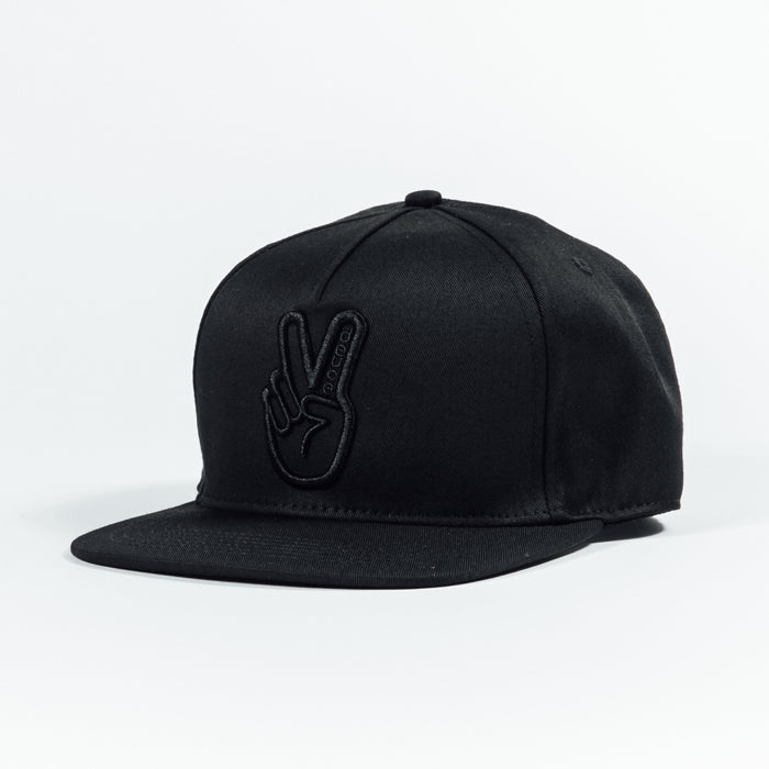 Deuce Brand Peace Logo Black on black snapback hat