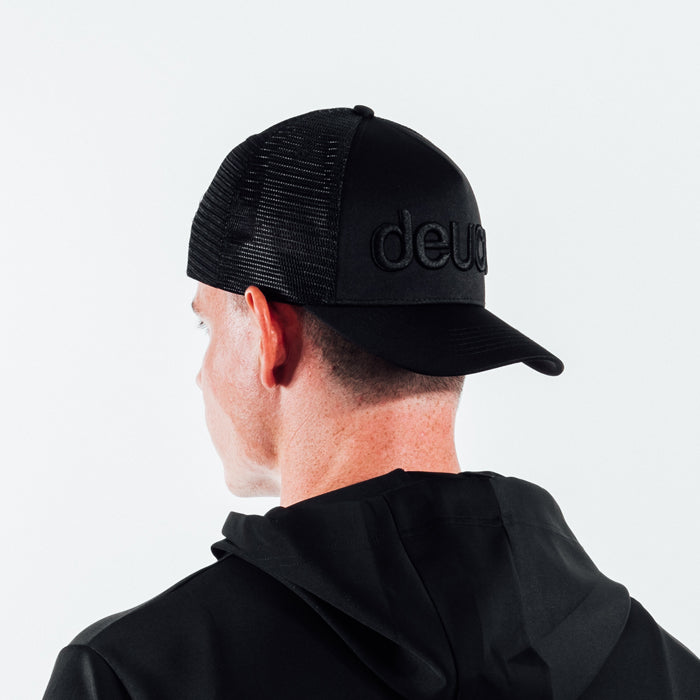 Deuce Brand Trucker Snapback hat black thread peace logo