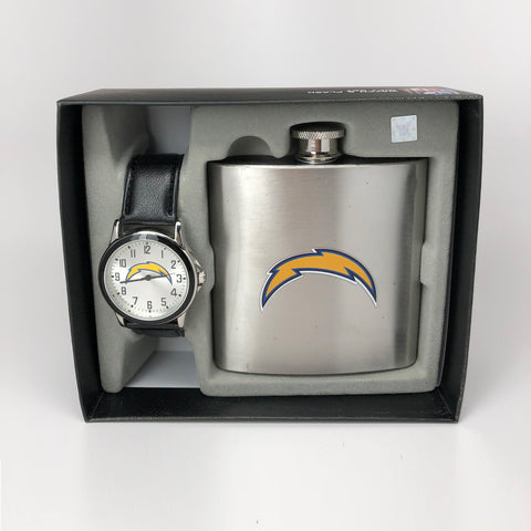 NFL San Diego Chargers Men's Watch and Flask Set