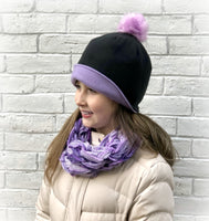 Reversible Fleece Ponytail and Pom Pom Hat with Turn Up Cuff
