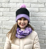 Mommy and Me Reversible Fleece Ponytail and Pom Pom Beanie  | Boston Millinery