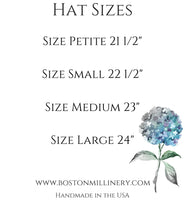 Boston Millinery  Hat Size chart