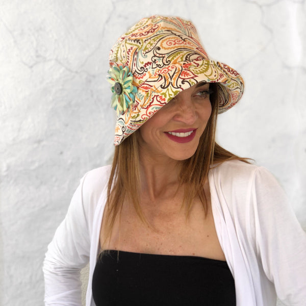 Flapper Style Hat in Paisley Patterned Cotton | The Eleanor