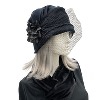 Cloche Hat with Birdcage Veil and Hydrangea brooch