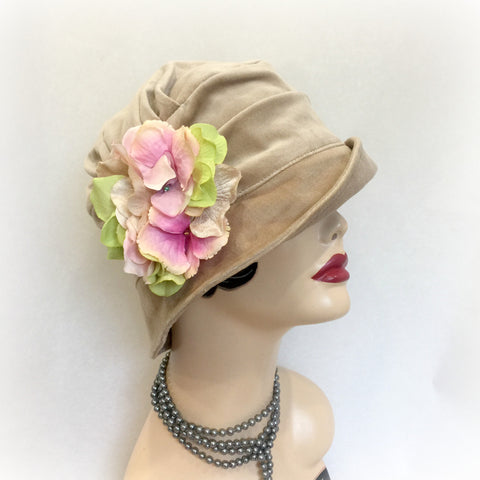 Beige Velvet Cloche - The Alice - Downton Abbey Style