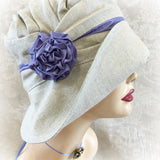Custom Design - Beige Linen Hat with Periwinkle Accents