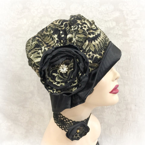 Black and Gold Occasion Wear Cloche - The Alice/ Evie - One Hat Multiple Looks