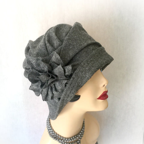 Handmade Hats Gray Wool felt Cloche