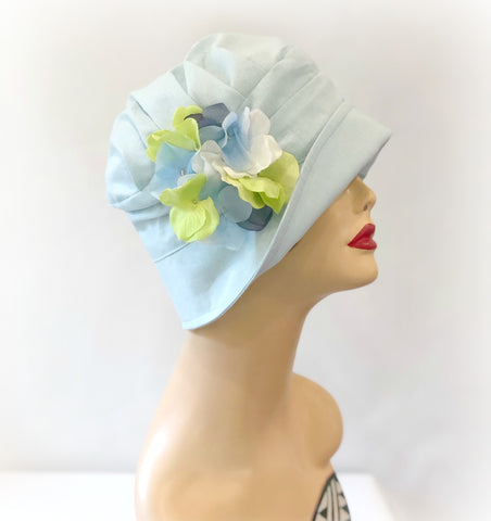 1920s style cloche hat in ice blue linen