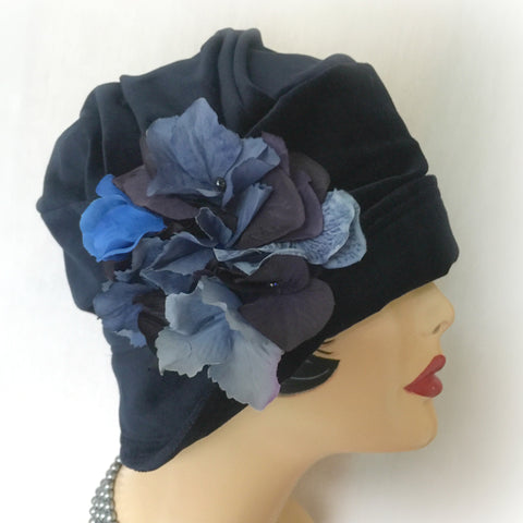 Downton Abbey Style Cloche -The Alice - Navy Blue Velvet