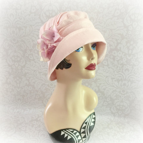 Linen Cloche Hat - Downton Abbey Style - Pale Pink - Hydrangea Brooch