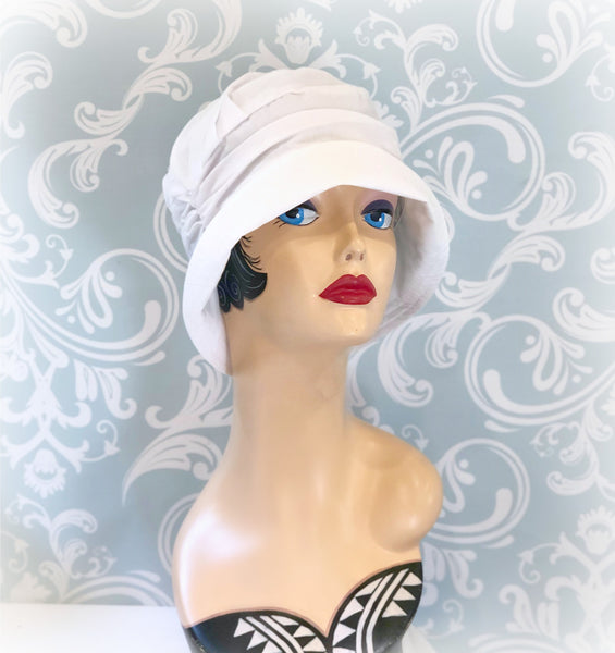 Chemo Cloche in soft white cotton knit