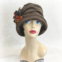 Brown Velour cloche hat front view Boston Millinery