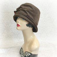 The Alice in brown Velour side view Boston Millinery\