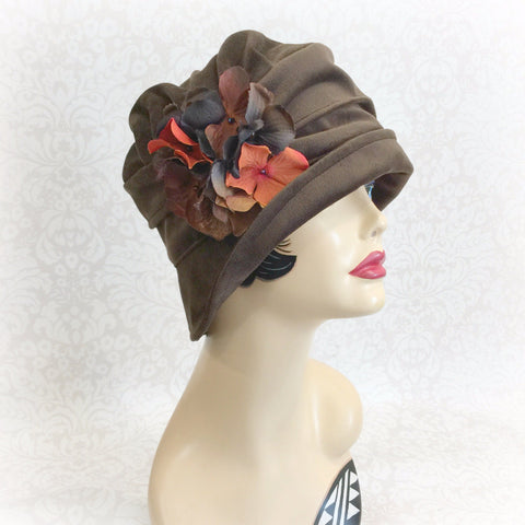 Elegant Downton Abbey Velvet hat with hydrangea flowers