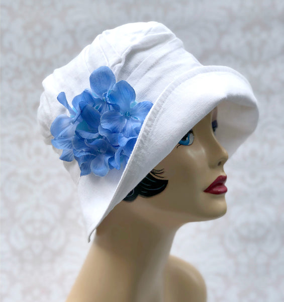 Linen Flapper Style Cloche Hat with Hydrangea Accessory | The Alice