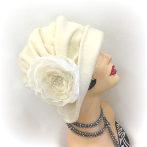 Winter Cloche - The Alice in cream Wool with Rose Accessory