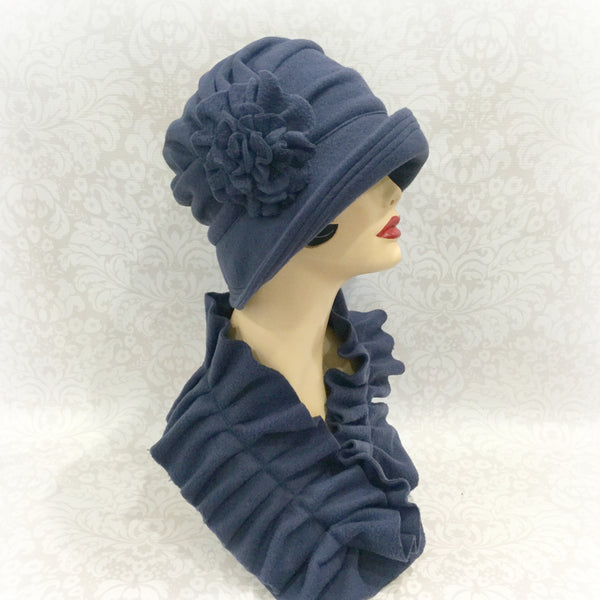Downton Abbey inspired cloche hat for women in fleece