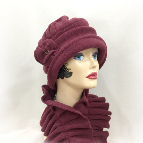 1920's Style Fleece Cloche - Berry Color Alice - Matching Scarf Available - The Alice