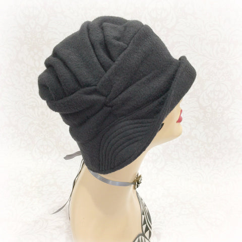 alice cloche hat black fleece side view