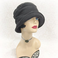 alice cloche hat black fleece front view