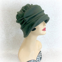 Olive Green Winter Wool Hat Downton Abbey Style | The Alice Cloche