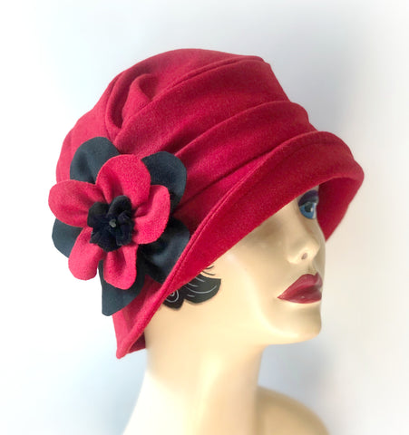 Red Winter Wool Cloche Hat with Daisy Brooch -  The Alice