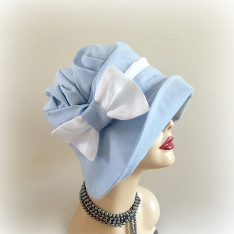 Feminine Linen Summer Hat with Bow Accessory | The Alice Cloche