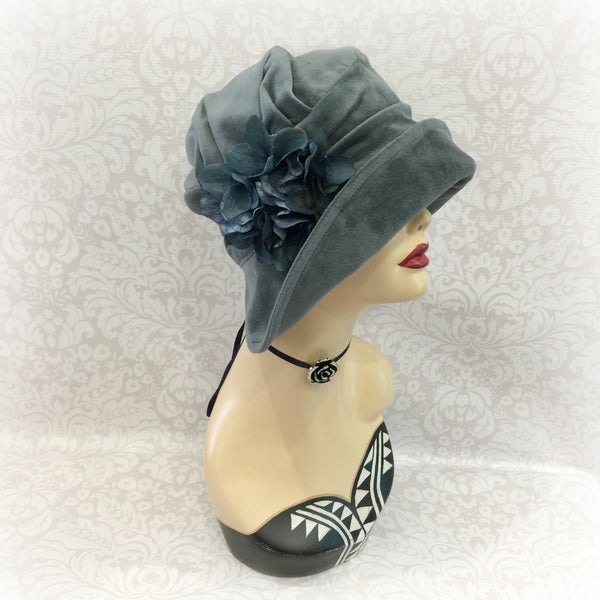 Velour Velvet Wide Brim Hat with Hydrangeas | The Alice Cloche