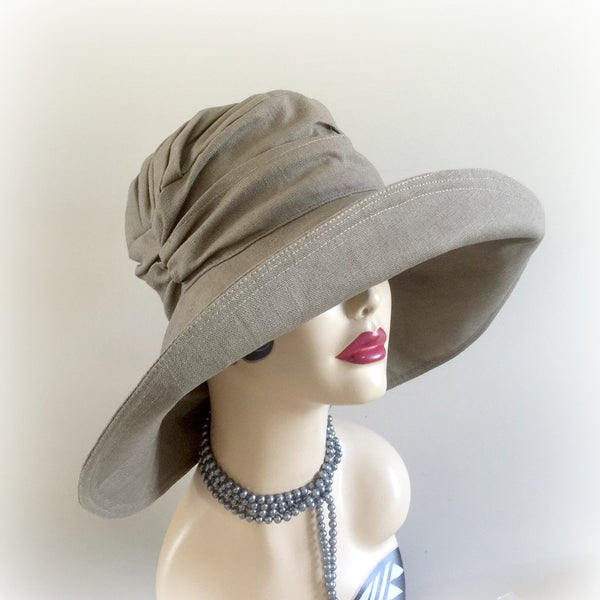 Linen Wide Brim Summer Hat | The Derby Cloche
