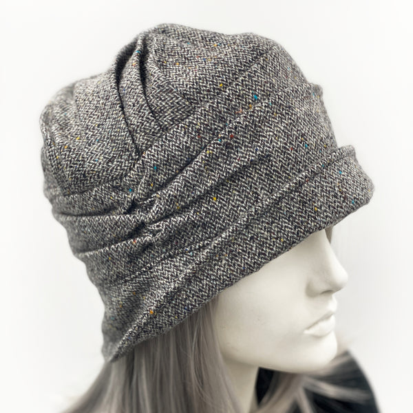 Alice Cloche hat in herringbone wool small brim without flower or bow