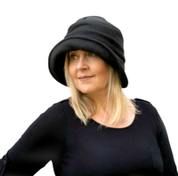 Alice cloche hat in black fleece side view