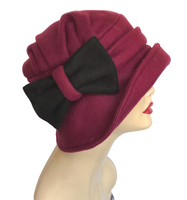 Alice cloche hat 1920s style Womens Burgundy handmade side view