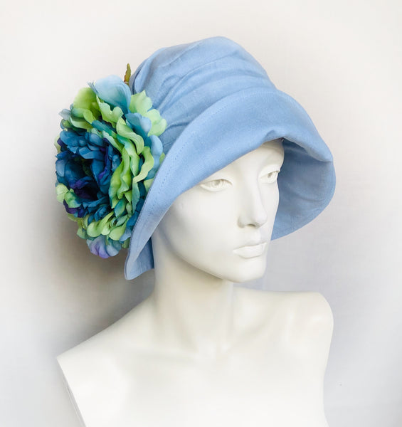 Alice cloche in pale blue linen