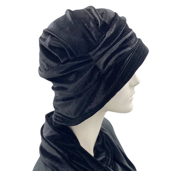1920s inspired vintage cloche hat in black velvet Boston Millinery
