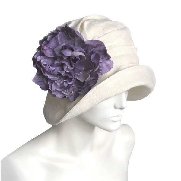 Alice wide brim cloche hat in cream Linen big purple flower brooch Hats for the Races