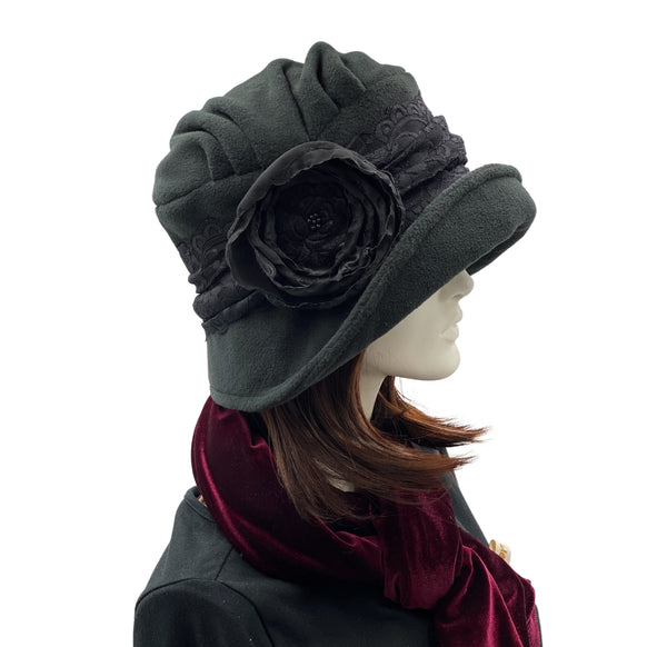 1920s Black Fleece cloche hat with satin and lace